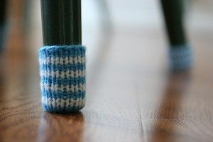 knit chair socks, neat idea to protect the hardwood floors