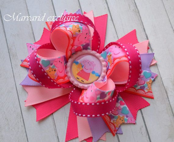 Peppa pig bow Pig and Teddy bear bow Clip by Marvaridexclusive