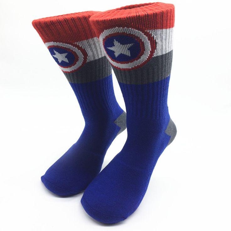 American captain superman hulk flashman Classical Cartoon towel bottom Socks polyester stocking SuperHero Men knee high Socks