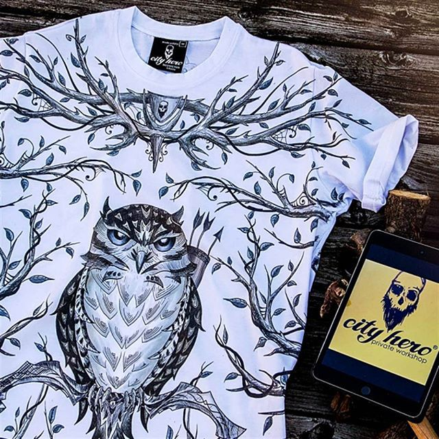 New mystic print from City Hero: young owl, armed with slings and arrows, lurking in a wildwood. T-Shirt Forest hunter 1,999 руб | 35,99 EUR #ow