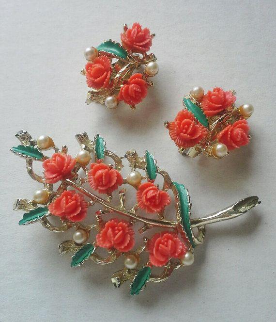 Coral colored-floral leaf brooch and by VeronaVintageJewels