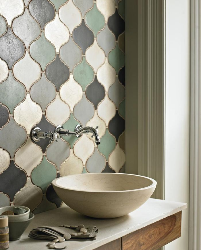 This tile is rockin' my world! I love the grey blue and cream and the shape is so unique...