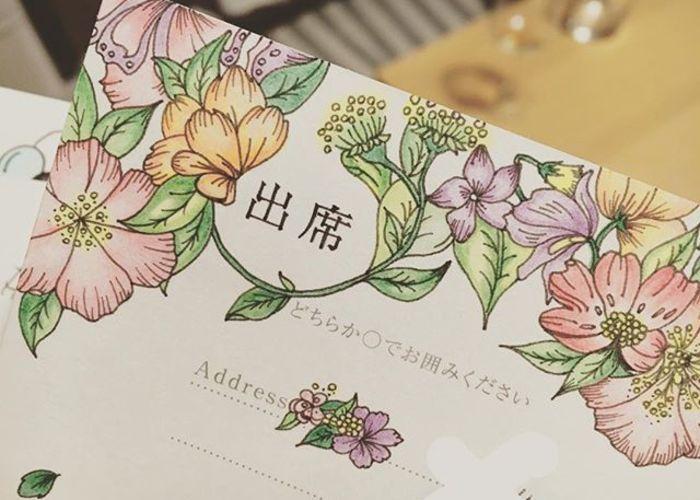 華やかで可愛いお花を描いた返信ハガキアートのアイデア Art