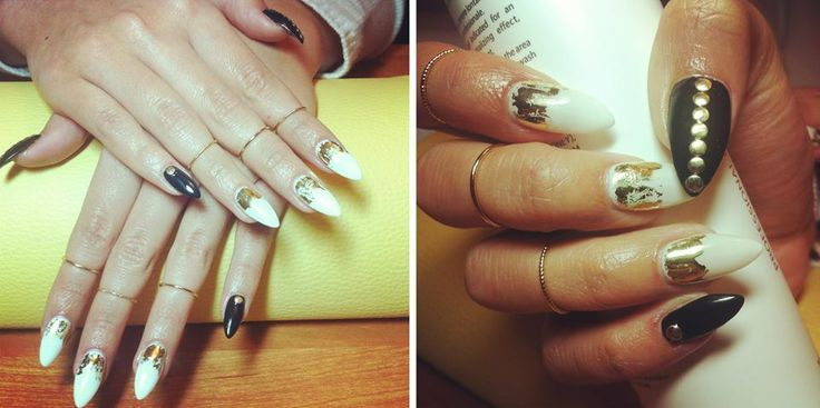 My white, black and gold nails ♥, looking pretty awesome ♥ [made by my friend]