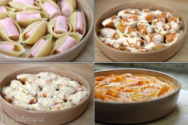 """Conchiglioni é uma massa em forma de concha muito simples de preparar, mas sempre faz sucesso! Basta cozinhar as """"conchas"""" em água fervendo pelo tempo indicado na embalagem, escorrer, r…"""