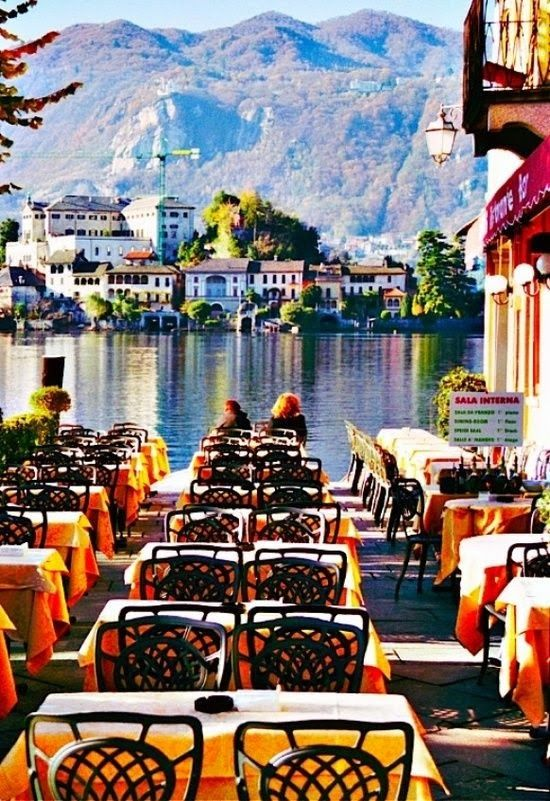 Cafe by the Lake - Lake Orta, Piemonte, Italy