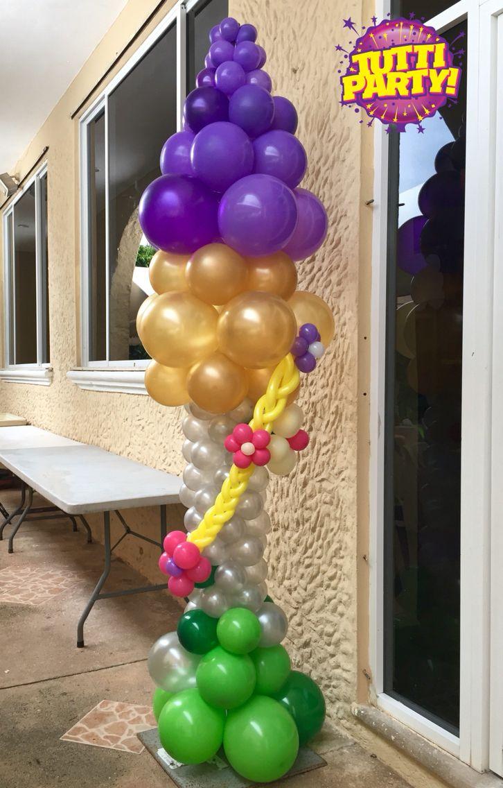 Rapunzel balloons tower rapunzel party decorations - Decoracion de globos ...