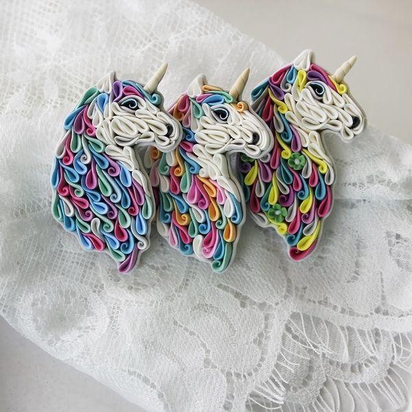 Новые броши единороги Единорог, полимерная глина, ручная работа, украшения, лошадь, творчество, длиннопост