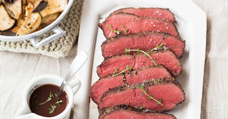 Gebratene Kräuterseitlinge sind die perfekte Begleitung zu einem frisch gebratenen Roastbeef.