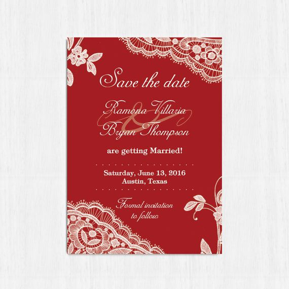 Elegant Save the date red Printable lace save the date by MinimalMoon on Etsy, wording just an example