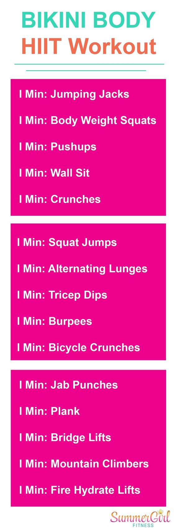 Bikini Body Home HIIT Workout: #SummerGirlFitness - more workouts at Youtube.com/SummeGirlFitness. Try this HIIT printable workout at home to get your SWEAT on. #HIITWorkout