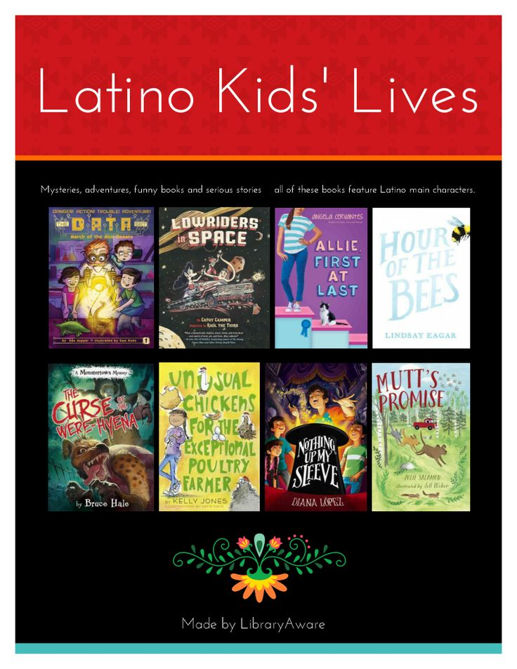 """Latino Kids' Lives.- 8 fabulous books with Latino main characters that kids will LOVE.  Our LibraryAware team has marketers, designers and librarians so we can create the best visual depiction for you to promote your expertise.   These flyers are great to post on a book display or hang in your library to create visual interest. Search """"Latino"""" in the Flyers-Books section. Remember you can easily swap books if you have your own favorites."""