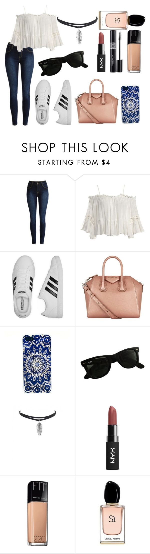 #166 by potato-cupcake on Polyvore featuring Sans Souci, adidas, Givenchy, Ray-Ban, Maybelline, Armani Beauty and Christian Dior