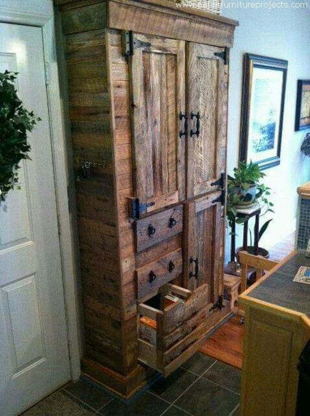 This grand vintage wood pallet cabinet can certainly be used for stuffing inside…