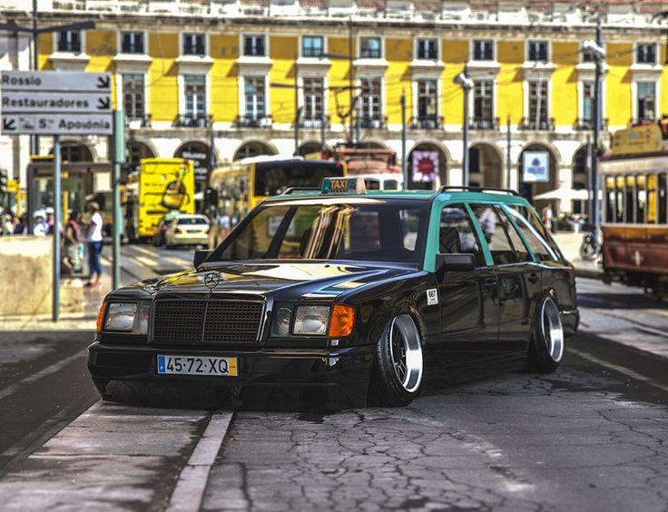 Hugo Silva Di Instagram Mercedes W124 Lisbon Taxi Taxi Lisbon Stanced Lowered Bagged Camber Portugal Merced Mercedes W124 Mercedes Mercedes Benz 190e