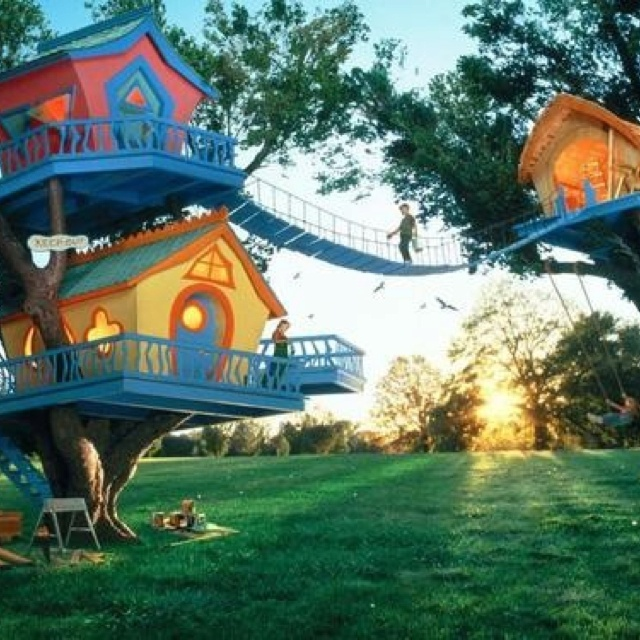 Probably will stick to one house..well maybe two so we can have a bridge ;)... but LOVE the bright colors and Dr.seuss -ish look!