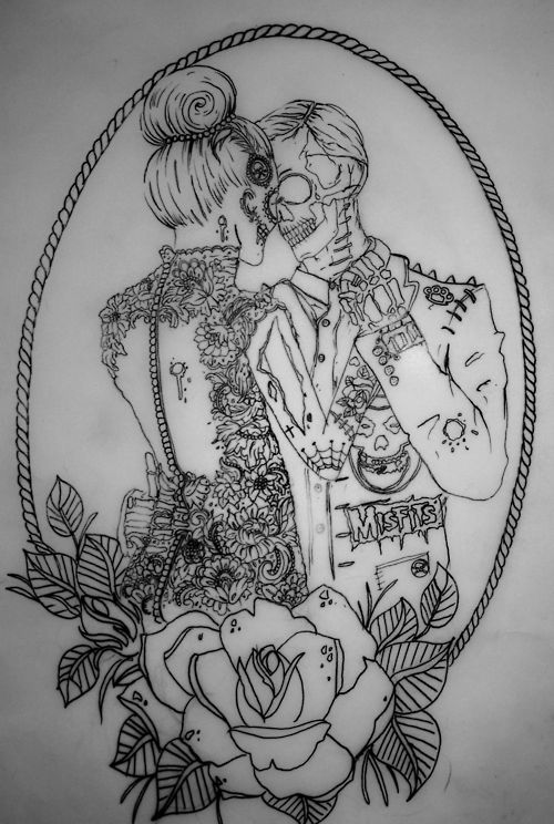 zombie tattoo. How cute would this be as a huge peice with my hubbys suit and my dress from the wedding.