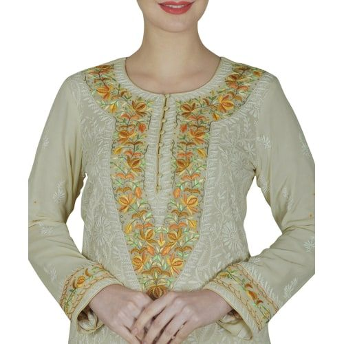 <p>Hand crafted Chikankari and Parsi Gara embroidery work come together to create this one-of-a-kind beautiful Shirt. This pure khaddi silk fawn colour shirt has intricate and fine hand embroidered chikankari work with Parsi Gara floral hand embroid