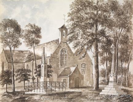 Kerk van Sint-Kruis, met het kerkhof  en het grafmonument Dezitter-Pottevyn - 1854 - tekening Auguste de Peellaert
