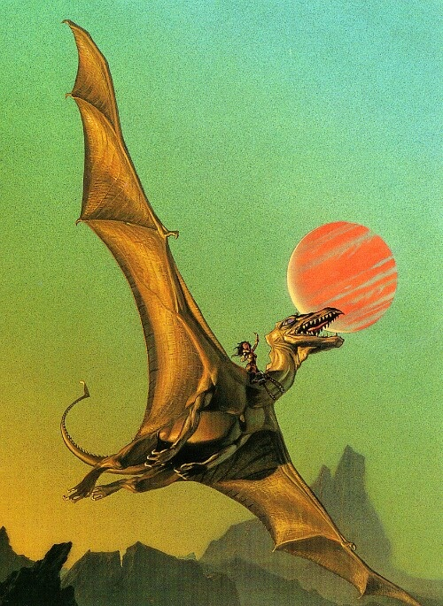 But before there was ever Daenerys Targaryen There was Less of Pern & I love her even more than the mother of Dragons. Lessa saved dragons from going extinct too. This is her riding her golden Ramoth. Dragons in pern are way cooler too, I mean they speak to their riders! Dragonriders of Pern