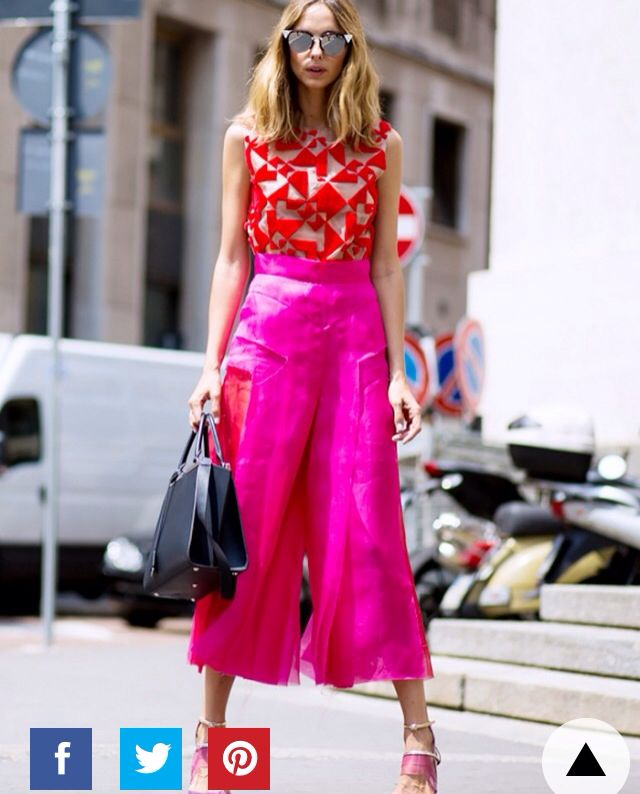 Pink culottes and red top - so vibrant