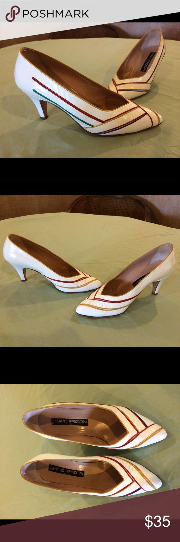 """Vintage Maud Frizon Paris White Leather Pumps White leather with inlaid stripes of green, yellow, red and blue   There is some very faint yellowing on the white. 2.5"""" heel, the tips will need replacing sometime.                                                Made in Italy 🇮🇹 Maud Frizon Shoes Heels"""