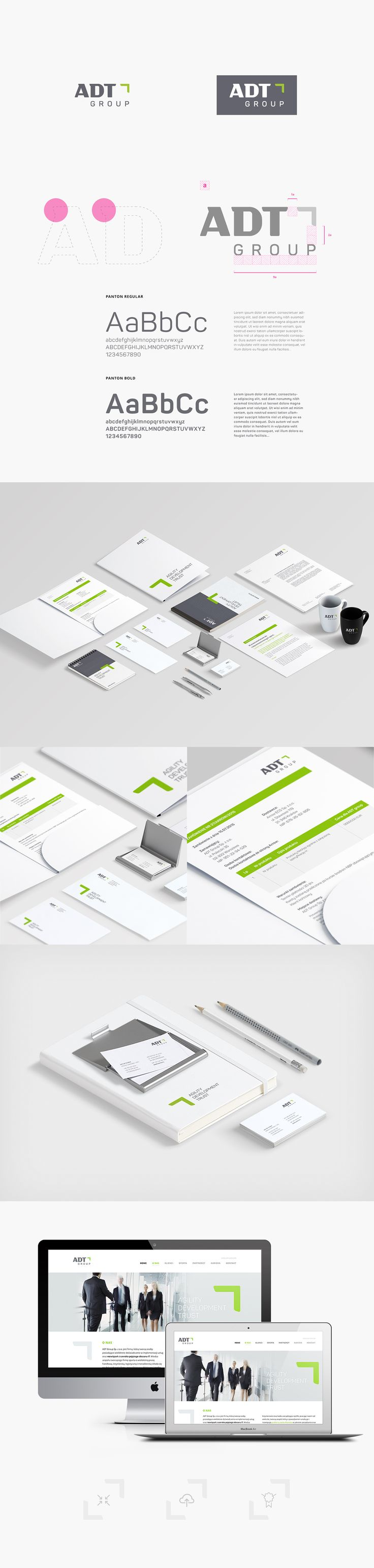 Complete identification for technologies company ADT GROUP (Poland) - logo, brochures, stationery, website