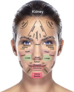 Face meridian chart. These are a part of Chinese medicine. The theory is this – wherever you get a blemish or breakout, a cyst or a liver spot it correlates to a body part.