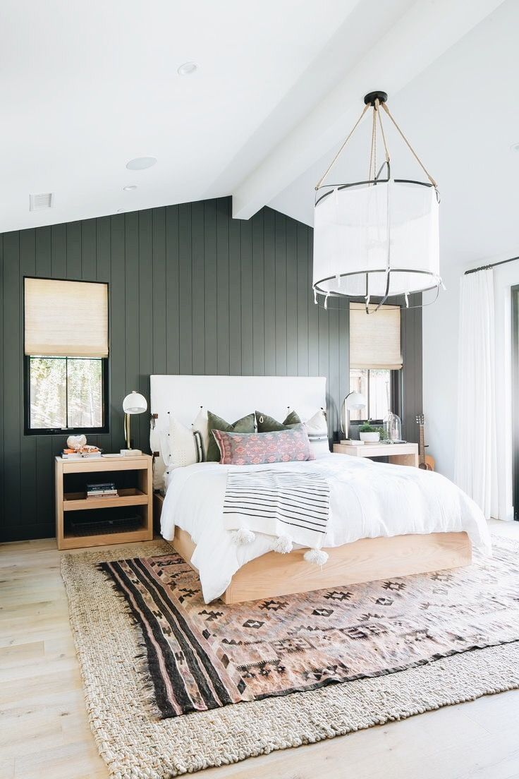 Master Bedroom With A Dark Accent Wall Home Decor Bedroom Farm House Living Room Bedroom Design