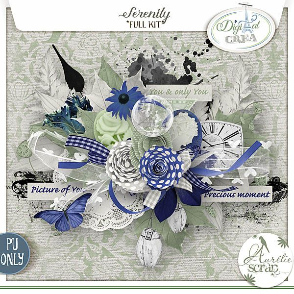 Kit - Digital-Créa Serenity by Aurélie Scrap A kit composed of 12 papers & 80 elements. A tender kit with soft colors...  #scrap #scrapbooking #digital #inspiration #DIY