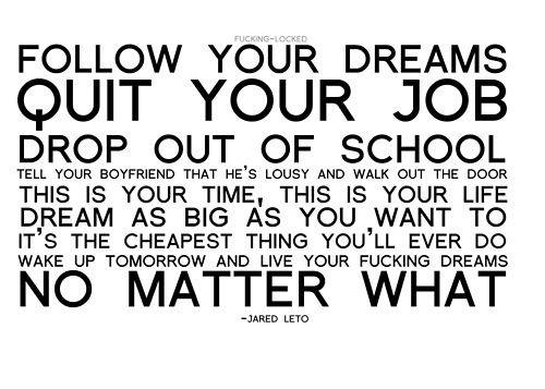 Attractive U201cFollow Your Dreams,quit Your Job, Drop Out Of School, Tell Your