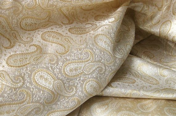 Gold white paisley Indian silk fat quarter by SilksByUmf on Etsy, $8.20Fat Quarter
