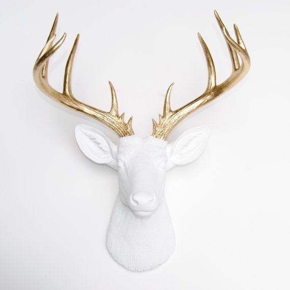 Large Deer Head - White and Gold Deer Head Wall Mount - 14 Point Stag Head Antlers Faux Taxidermy ND0108 on Etsy, $114.99