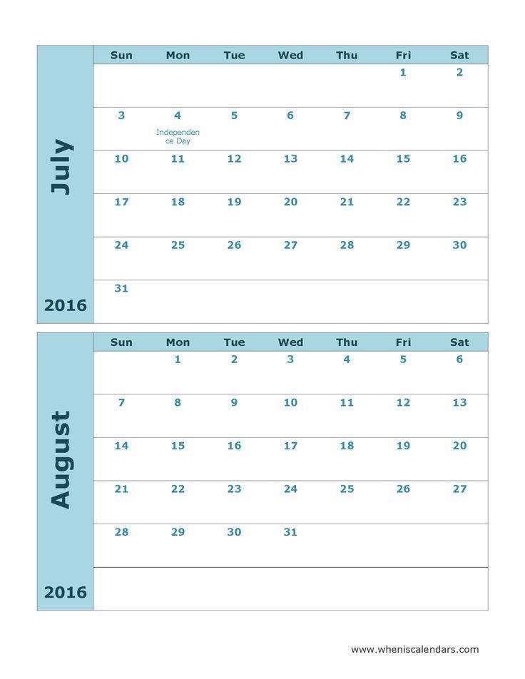 july august 2016 calendar