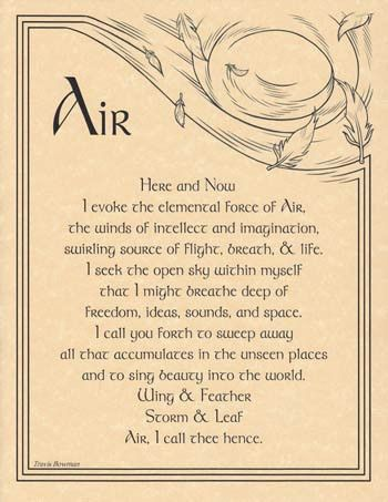 Air Invocation poster - Eartisans Wiccan & Pagan Products