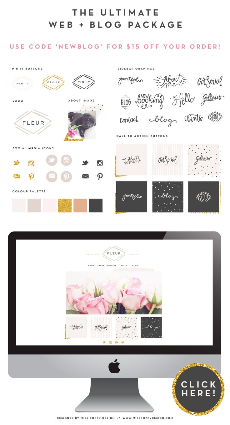 FLEUR- THE ULTIMATE WEB AND BLOG KIT BY MISS POPPY DESIGN! SOCIAL ICONS, GLITTER, CALL TO ACTION BUTTONS AND LOGO