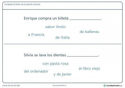 Ficha de rellenar correctamente la frase para primaria