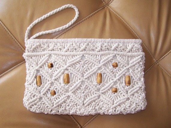 Macrame Clutch Bag mellow 70s / on now BuY 2 by GreenMarketVintage, $22.00