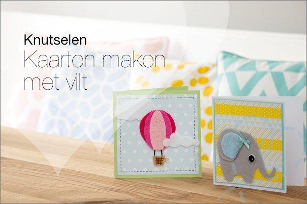 Zelf kaartjes maken: Kaarten maken met vilt. Inclusief gratis patronen van een olifant, ballon en ijsjes.   Leuk om zelf te knutselen met blanco kaarten, vilt en washi tape.
