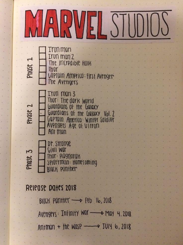 Marvel Universe Checkliste für das Bullet Journal…
