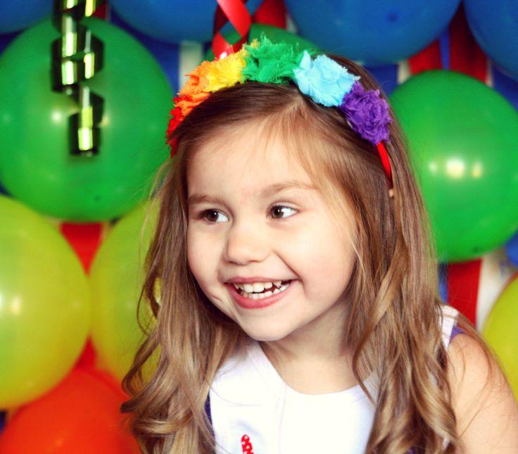 Rainbow Headband, Rainbow Birthday, Shabby Headband, Hair Band, Rosette Headband, Elastic Headband, 1st Birthday, Pageant Accessories by willowlaneboutiques on Etsy