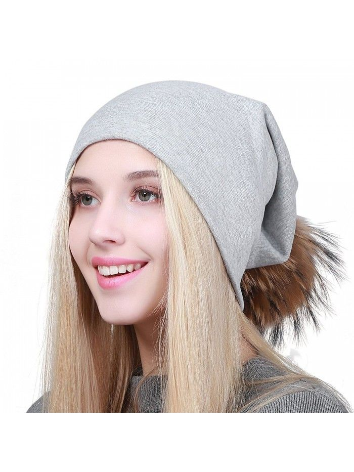 Women Winter Pom Pom Beanie Hat With Soft Slouchy Snow Knit Cotton Skull Cap  - Lightgray - CO188YG0QGA - Hats   Caps 9ab11408b23