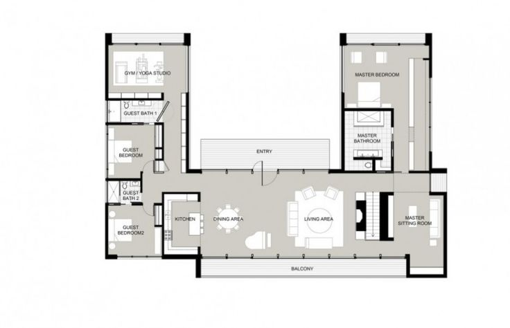 U-shape. like the master bedroom layout with ensuite and master sitting room