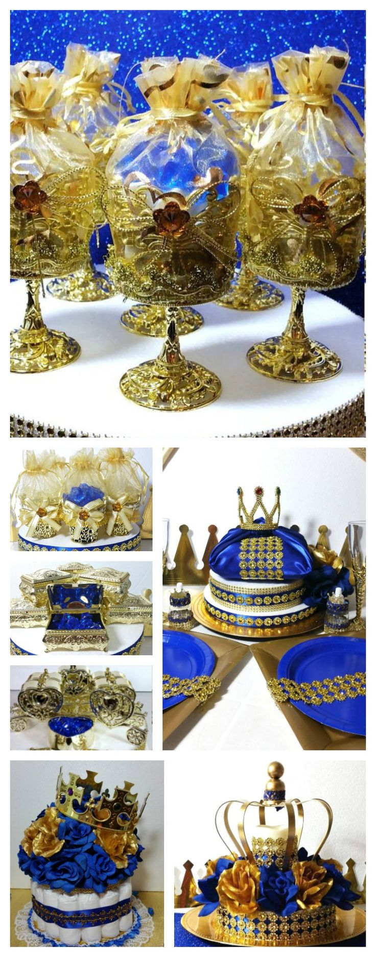 Royal Prince Baby Shower Favors and Centerpieces. Perfect for Royal Blue and Gold Baby Shower Theme and Decorations.