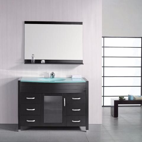 Picture Collection Website Design Element Waterfall in D Single Vanity in Espresso with Tempered Glass Vanity Top and Mirror in The Home Depot
