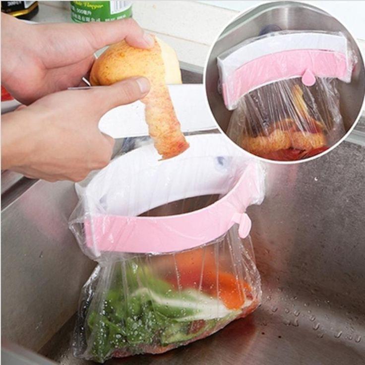 Pia da cozinha de lixo saco de transporte otário Trash Can cabide
