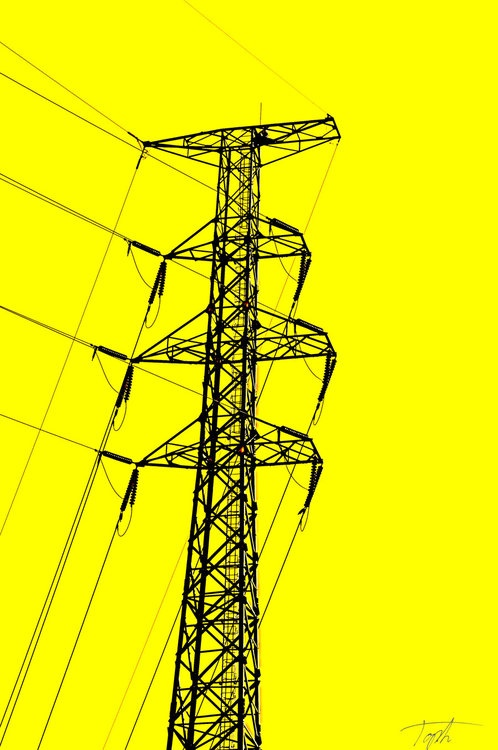 pylon on yellow background