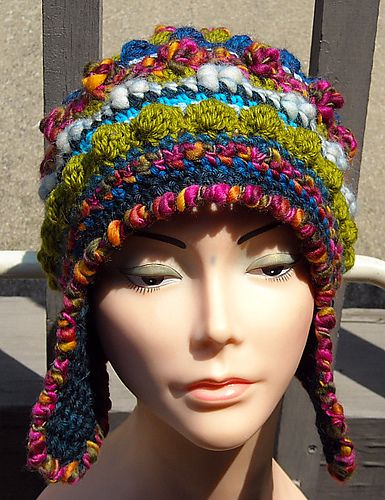 Ravelry: Freeform/Freestyle Crochet Helmet Hat with earflaps and instructions for magic ball version pattern by Woolmountain Studio