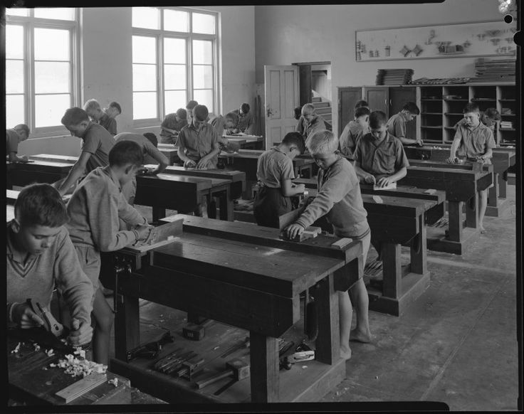 114692PD: Woodwork class at Bindoon Boys' Town, 31 March 1966. http://encore.slwa.wa.gov.au/iii/encore/record/C__Rb3708000__Sboys__Ff%3Afacetmediatype%3Av%3Av%3APhotograph%3A%3A__P0%2C2__Orightresult__U__X6?lang=eng&suite=def