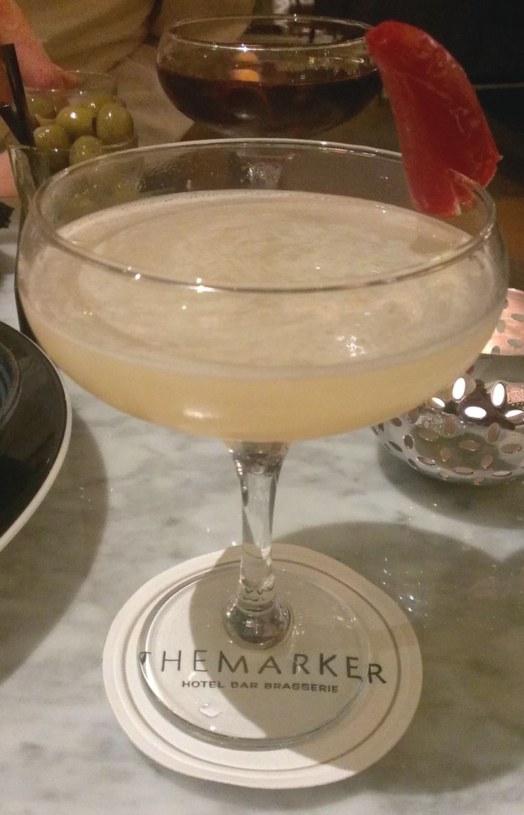 Spicy Fifty at The Marker Hotel. Absolut Vanilla, elderflower, chilli, honey, and lime.